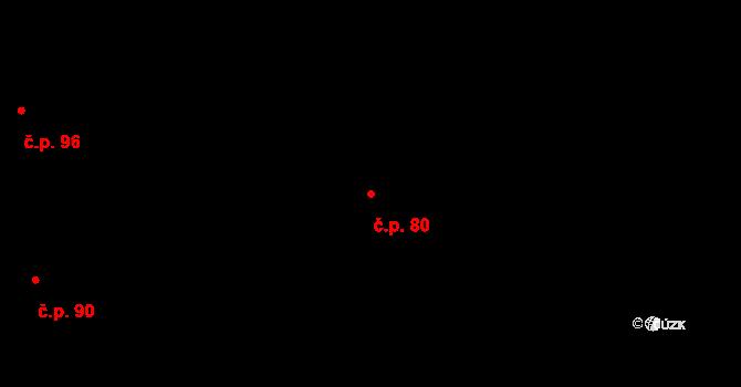 Třebín 80, Dubné na parcele st. 109 v KÚ Třebín, Katastrální mapa