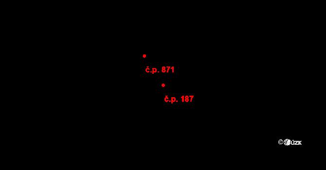 Dolní Lutyně 187 na parcele st. 3679 v KÚ Dolní Lutyně, Katastrální mapa