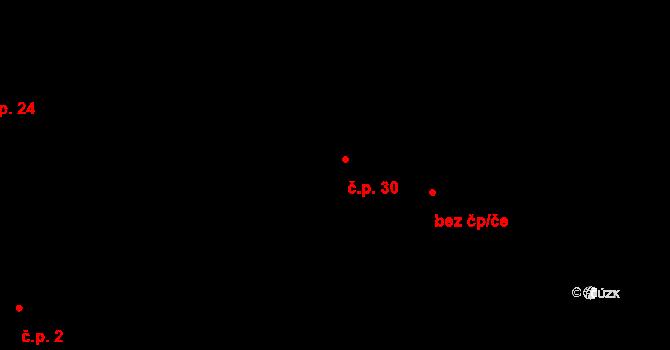 Vysoká 30, Jihlava na parcele st. 72 v KÚ Vysoká u Jihlavy, Katastrální mapa