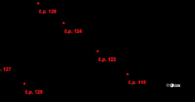 Lány na Důlku 122, Pardubice na parcele st. 136 v KÚ Lány na Důlku, Katastrální mapa