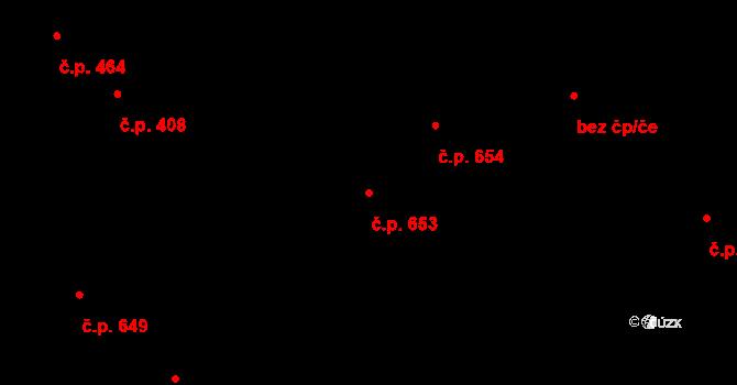 Lobeček 653, Kralupy nad Vltavou na parcele st. 734 v KÚ Lobeček, Katastrální mapa