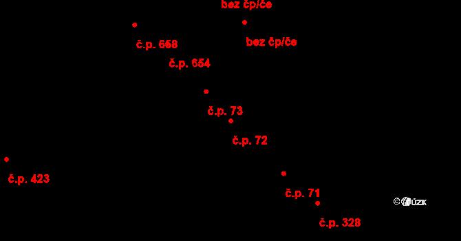 Studánka 72, Pardubice na parcele st. 125 v KÚ Studánka, Katastrální mapa
