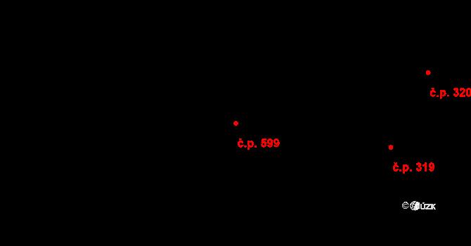 Slavonín 599, Olomouc na parcele st. 421/29 v KÚ Slavonín, Katastrální mapa