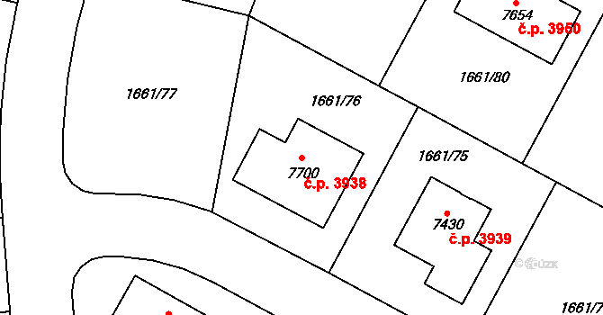 Havlíčkův Brod 3938 na parcele st. 7700 v KÚ Havlíčkův Brod, Katastrální mapa