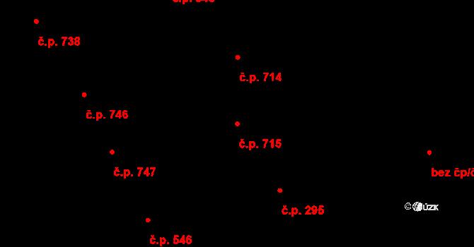 Vinohrady 715, Praha na parcele st. 748 v KÚ Vinohrady, Katastrální mapa