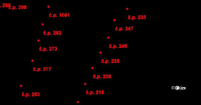 Újezd u Brna 235 na parcele st. 219 v KÚ Újezd u Brna, Katastrální mapa