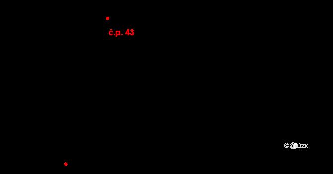 Vrdy 43 na parcele st. 58/1 v KÚ Vrdy, Katastrální mapa