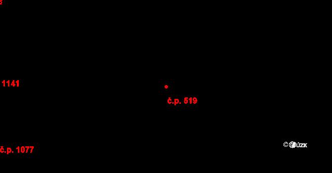 Smíchov 519, Praha na parcele st. 2869/10 v KÚ Smíchov, Katastrální mapa