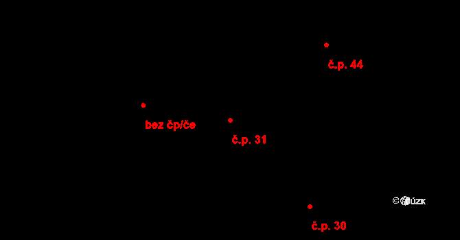 Březno 31, Velemín na parcele st. 39/2 v KÚ Březno, Katastrální mapa