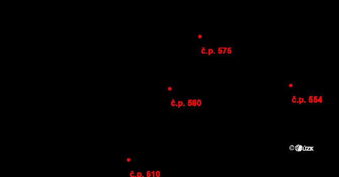 Mladcová 580, Zlín na parcele st. 1036 v KÚ Mladcová, Katastrální mapa