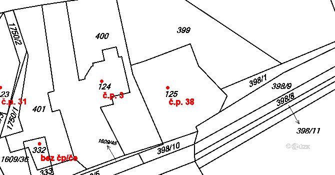 Bolehošťská Lhota 38, Bolehošť na parcele st. 125 v KÚ Bolehošť, Katastrální mapa