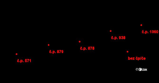 Malenovice 878, Zlín na parcele st. 1072 v KÚ Malenovice u Zlína, Katastrální mapa