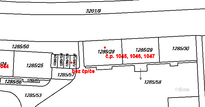 Krč 1045,1046,1047, Praha na parcele st. 1285/28 v KÚ Krč, Katastrální mapa