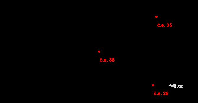 Nová Lhota 38 na parcele st. 696 v KÚ Nová Lhota u Veselí nad Moravou, Katastrální mapa