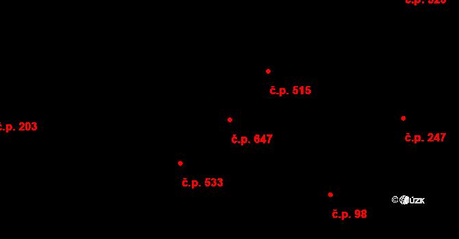 Velké Němčice 647 na parcele st. 940 v KÚ Velké Němčice, Katastrální mapa