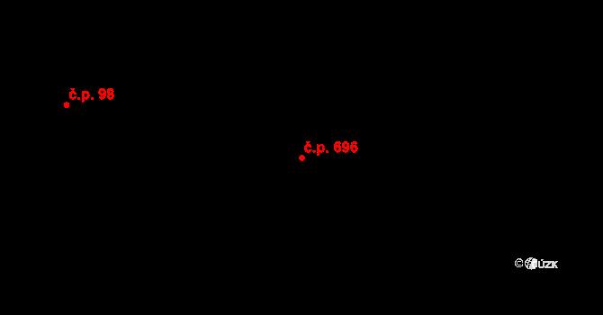Nová Bělá 696, Ostrava na parcele st. 311/4 v KÚ Nová Bělá, Katastrální mapa