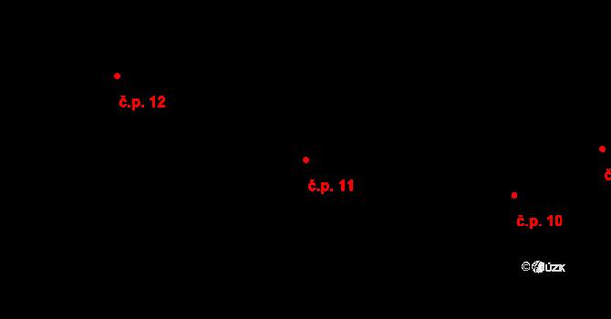 Staré Hory 11, Jihlava na parcele st. 27 v KÚ Staré Hory, Katastrální mapa