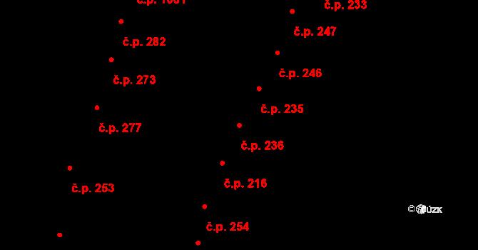 Újezd u Brna 236 na parcele st. 221 v KÚ Újezd u Brna, Katastrální mapa