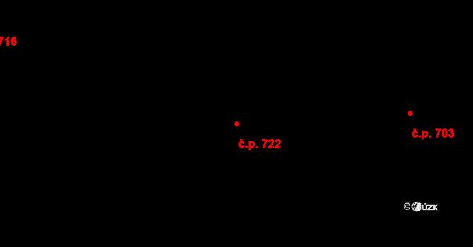 Prštné 722, Zlín na parcele st. 1154 v KÚ Prštné, Katastrální mapa