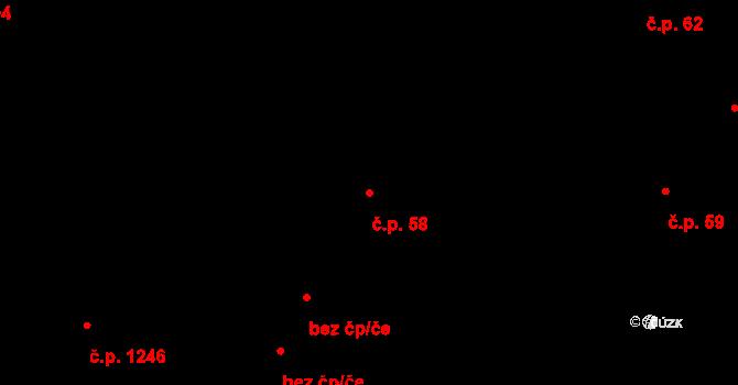 Hradec Králové 58 na parcele st. 74/1 v KÚ Hradec Králové, Katastrální mapa