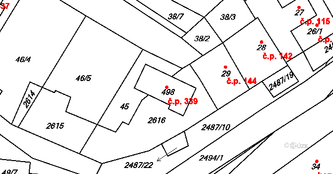 Nová Říše 339 na parcele st. 498 v KÚ Nová Říše, Katastrální mapa
