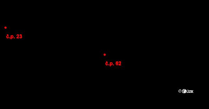 Třebsko 62 na parcele st. 62 v KÚ Třebsko, Katastrální mapa
