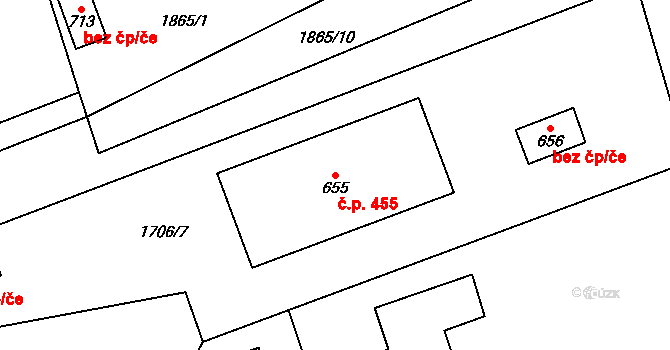 Mladé Buky 455 na parcele st. 655 v KÚ Mladé Buky, Katastrální mapa