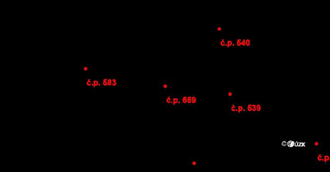 Lučany nad Nisou 659 na parcele st. 755 v KÚ Lučany nad Nisou, Katastrální mapa