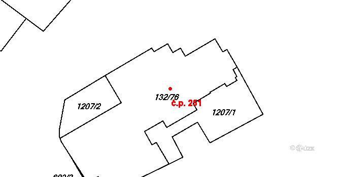 Řepčín 251, Olomouc na parcele st. 132/76 v KÚ Řepčín, Katastrální mapa