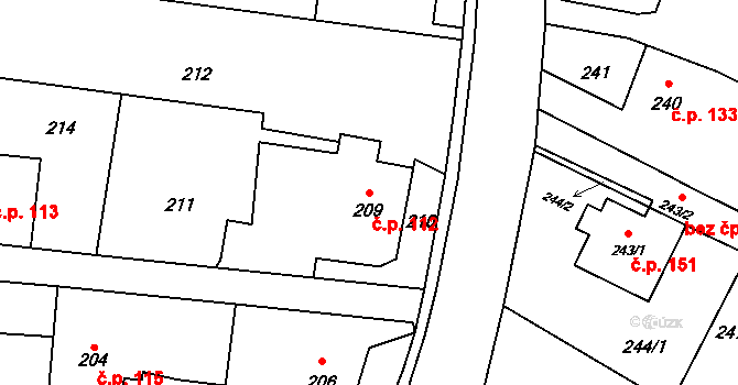 Děhylov 112 na parcele st. 209 v KÚ Děhylov, Katastrální mapa