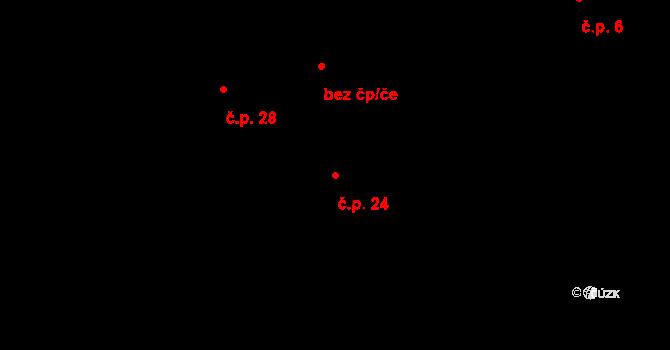 Jílovec 24, Fulnek na parcele st. 6/1 v KÚ Jílovec, Katastrální mapa