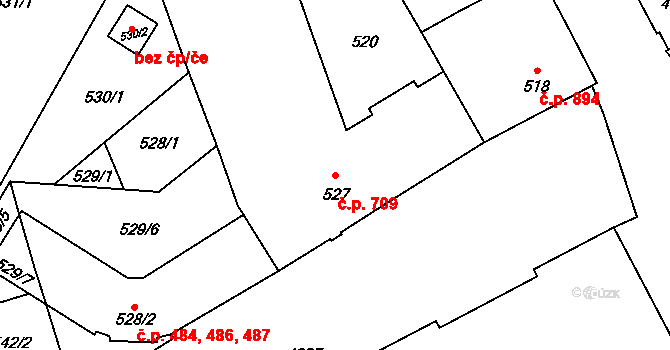 Přerov I-Město 709, Přerov na parcele st. 527 v KÚ Přerov, Katastrální mapa