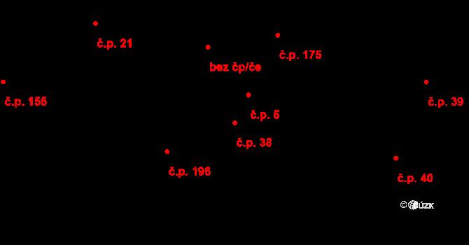 Nedašova Lhota 38 na parcele st. 42 v KÚ Nedašova Lhota, Katastrální mapa