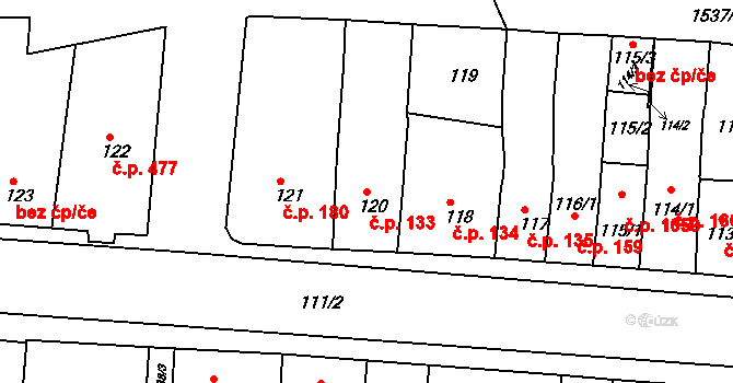 Újezd u Brna 133 na parcele st. 120 v KÚ Újezd u Brna, Katastrální mapa