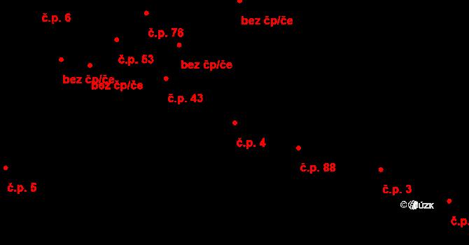 Žďár 4 na parcele st. 64 v KÚ Žďár u Blanska, Katastrální mapa