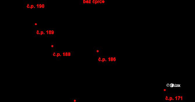 Vrchlabí 186 na parcele st. 132 v KÚ Vrchlabí, Katastrální mapa