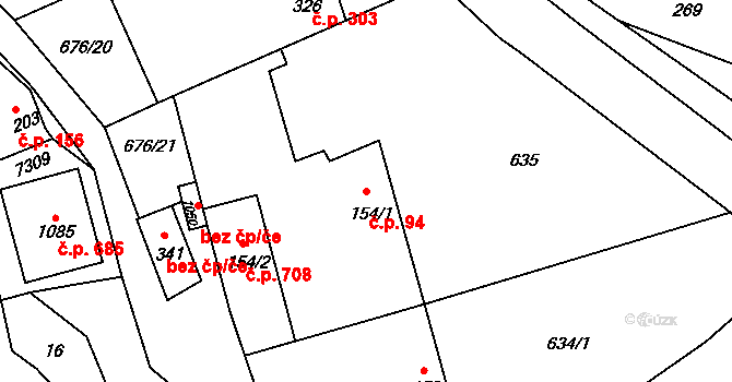 Prštné 94, Zlín na parcele st. 154/1 v KÚ Prštné, Katastrální mapa