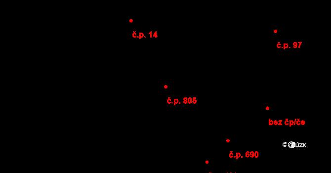 Rožnov pod Radhoštěm 805 na parcele st. 1095 v KÚ Rožnov pod Radhoštěm, Katastrální mapa