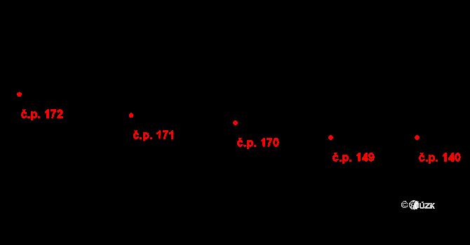 Sehradice 170 na parcele st. 301 v KÚ Sehradice, Katastrální mapa