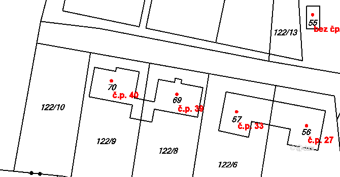 Suchá 39 na parcele st. 69 v KÚ Suchá u Jihlavy, Katastrální mapa
