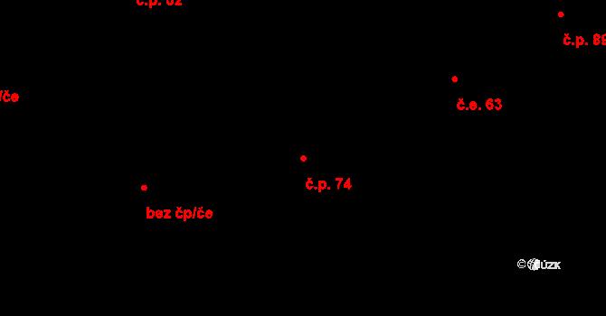Řež 74, Husinec na parcele st. 114 v KÚ Husinec u Řeže, Katastrální mapa