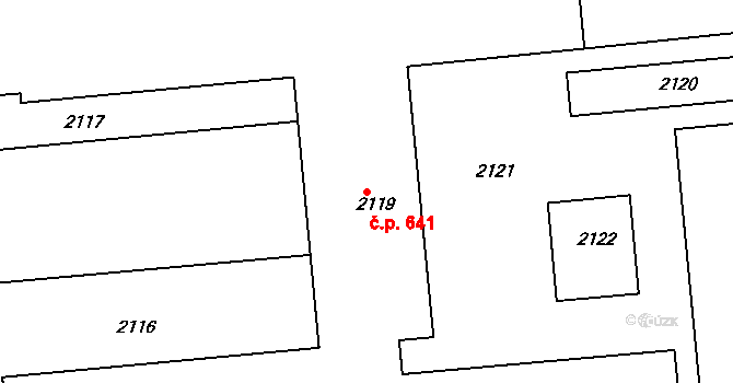 Charvátská Nová Ves 641, Břeclav na parcele st. 2119 v KÚ Charvátská Nová Ves, Katastrální mapa