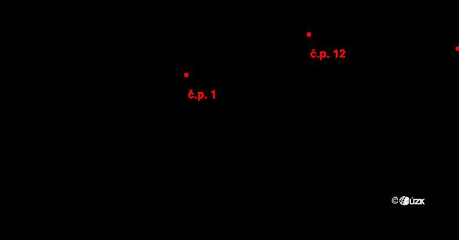 Předboř 1, Luka nad Jihlavou na parcele st. 1 v KÚ Předboř nad Jihlavou, Katastrální mapa