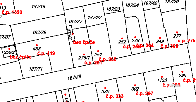 Svítkov 260, Pardubice na parcele st. 251 v KÚ Svítkov, Katastrální mapa