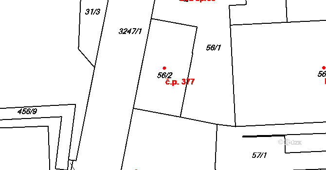 Michle 377, Praha na parcele st. 56/2 v KÚ Michle, Katastrální mapa