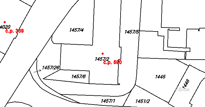Liberec IV-Perštýn 580, Liberec na parcele st. 1457/2 v KÚ Liberec, Katastrální mapa
