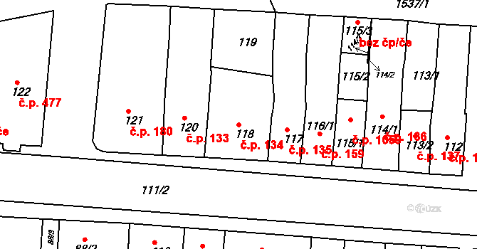 Újezd u Brna 134 na parcele st. 118 v KÚ Újezd u Brna, Katastrální mapa