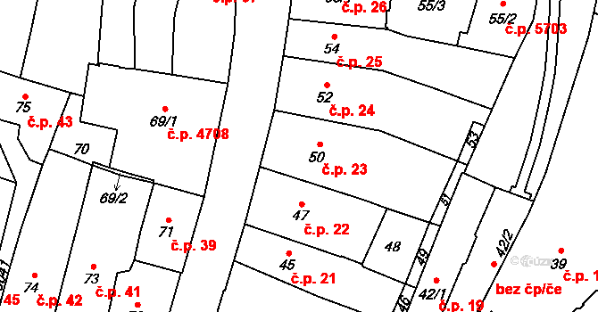 Jihlava 23 na parcele st. 50 v KÚ Jihlava, Katastrální mapa