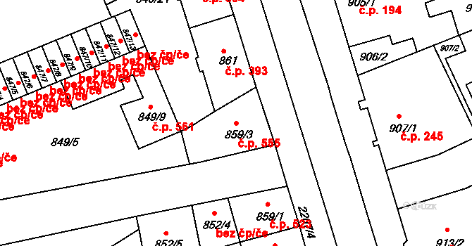 Staré Město 555, Třinec na parcele st. 859/3 v KÚ Třinec, Katastrální mapa