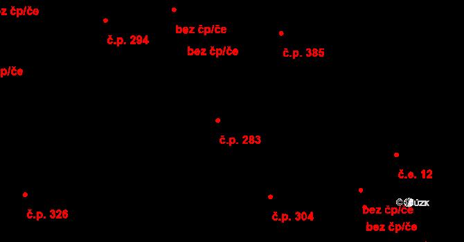 Stará Huť 283 na parcele st. 325 v KÚ Stará Huť, Katastrální mapa
